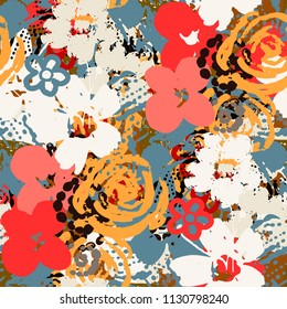 Seamless pattern with flowers, paint spots. Grunge background texture. Abstract art