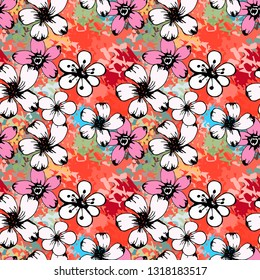 Seamless pattern with flowers, paint spots. Grunge floral background. Repeating summer print. Abstract art texture. Fabric design, wallpaper