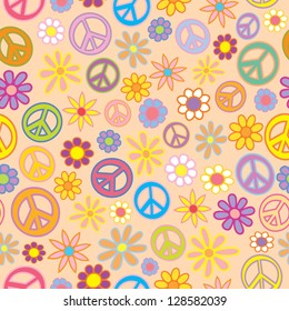 A seamless pattern of flowers and peace signs intermingled.