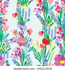 Seamless pattern with flowers, plant vector background. Abstract floral illustration. Textile Spring design. Simple style colorful art. Wrapping paper in gentle colors
