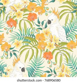 Seamless pattern with flowers Plumeria, Orchid, leaves and white parrot Cockatoo. Vector illustration in vintage style on beige background.