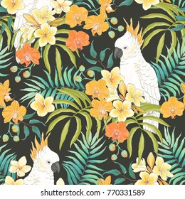 Seamless pattern with flowers Plumeria, Orchid, leaves and white parrot Cockatoo. Vector illustration in vintage style on dark background.