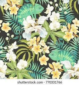 Seamless pattern with flowers Plumeria, Orchid, Fleur de lis, leaves and green Chameleon. Vector illustration in vintage style on dark background.