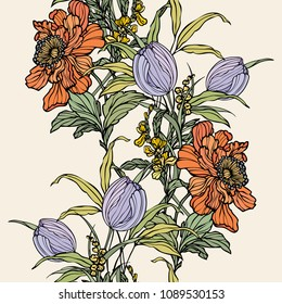 Seamless pattern with flowers poppy and tulips