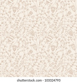 Seamless pattern with flowers in retro style