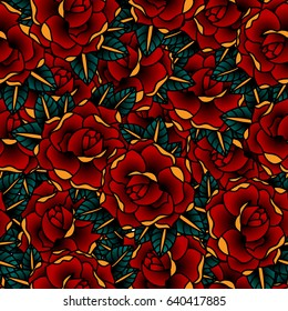 Seamless pattern of Flowers roses, red buds and green leaves. Tatoo style.Vector illustration.
