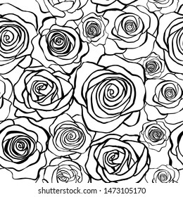 Seamless pattern of flowers roses. For textiles, wrapping paper, wallpapers, cards and your design.