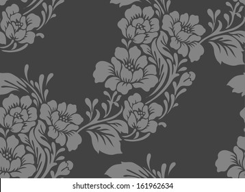 Seamless pattern with flowers roses, vector floral illustration in vintage style