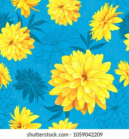 Seamless pattern with flowers of Rudbeckia Laciniata, also called Golden Ball on a blue background with sequins. Hand drawn sketch. Template for floral textile design, paper, wallpaper, web.