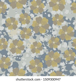 Seamless pattern with flowers and spots. Grunge