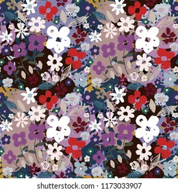 Seamless pattern with flowers. Summer print. Floral background. Fabric design, wallpaper