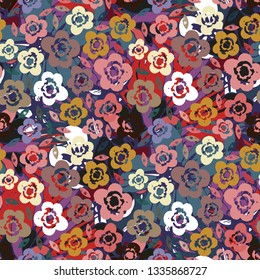 Seamless pattern with flowers. Summer print. Background, repeating texture. Fabric design