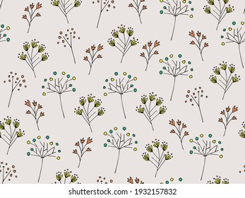 Seamless pattern of flowers, vector illustration