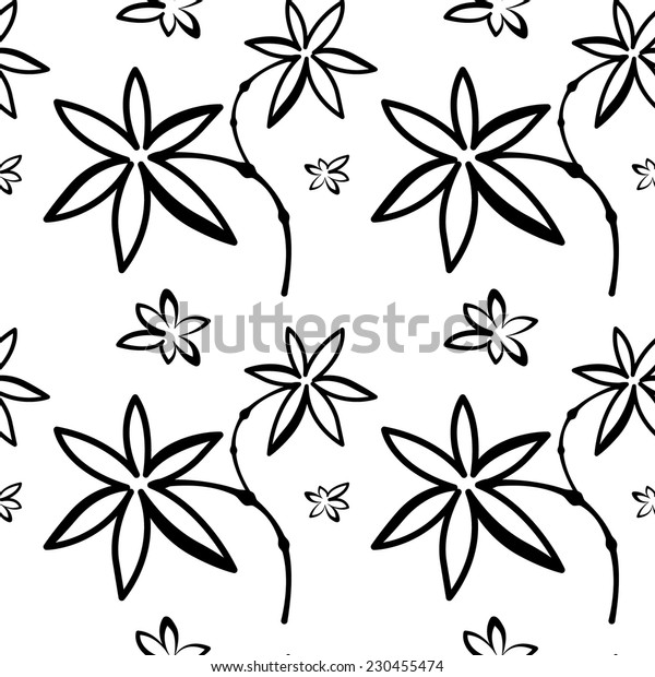 Seamless pattern with flowers white 2