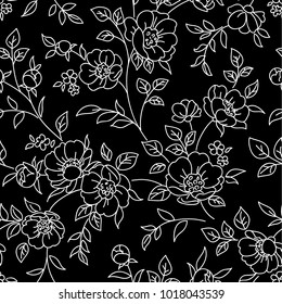Seamless pattern with flowers. White lines on black background. Vector floral wallpaper