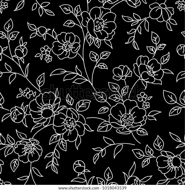 seamless pattern flowers white lines 600w 1018043539