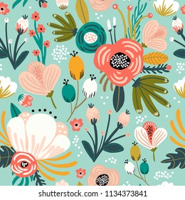 Seamless pattern with flowers,branches, berries. Creative floral texture. Great for fabric, textile Vector Illustration
