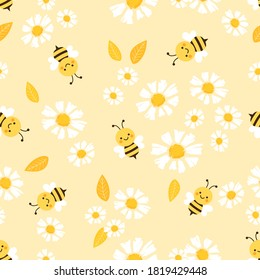Seamless pattern with flying bees and daisy flower on yellow background vector illustration. Flat design.