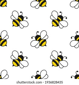 Seamless pattern with flying bees. Vector cartoon black and yellow bees isolated on white background.