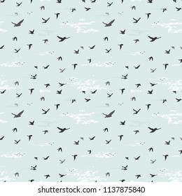 seamless pattern with flying birds