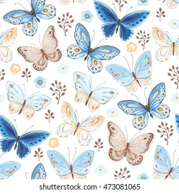 Seamless pattern of flying butterflies blue, yellow and brown colors. Vector illustration in vintage style on white background.