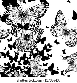 Seamless pattern with flying butterflies, hand drawing. Vector illustration.