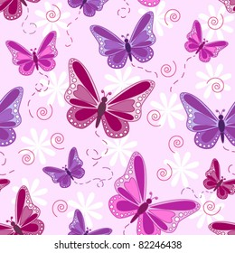 Seamless pattern of flying butterflies in shades of pinks and purples with white flowers over pale pink background.