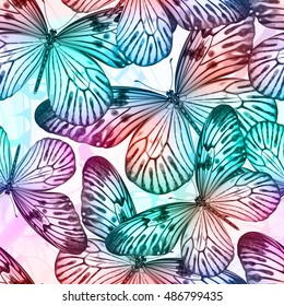 Seamless pattern with flying butterflies. Vector bright colorful illustration.