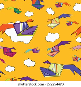 Seamless pattern of flying in the clouds laptops