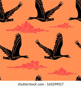 Seamless pattern with flying geese