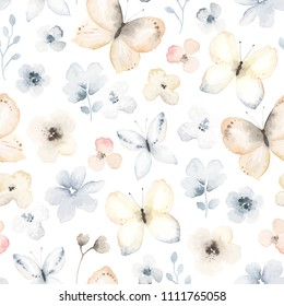 Seamless pattern with flying gentle butterflies and flowers. Vector floral illustration on white background in vintage watercolor style.