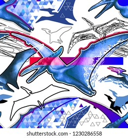Seamless pattern of flying pterodactyls drawn in different abstract modern techniques. Fantasy dinosaur design