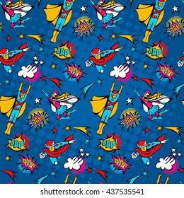 seamless pattern flying superstrong heroes male and female illustration and speech bubbles in the pop Art comics style on a dark blue background