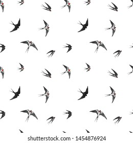 Seamless pattern with flying swallow birds on white background.