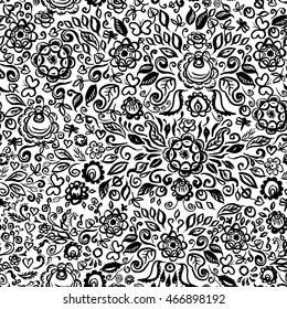 seamless pattern folk art floral ornament on white background Vintage elegant wedding invitation with summer ethnic flowers Black isolated on white background. Vector