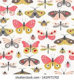 Seamless pattern of folk decorative butterflies, moths, dragonflies and bugs on light background.