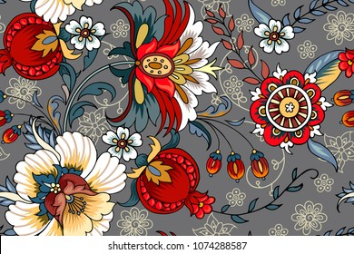 Seamless pattern with folk flowers