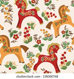 Seamless pattern with folk horses. Vector colorful background. Wooden horse a symbol of New Year.