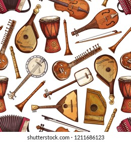 Seamless pattern of folk music instrument with indian sitar, russian balalaika and african drum, italian viola, flute and american banjo, japanese shamisen, zither, bandura and accordion