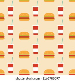 Seamless Pattern Food And Drink Burger and Drink Junkfood .Pattern suitable for posters, postcards, fabric or wrapping paper.