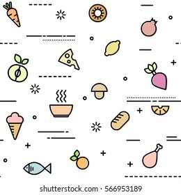 Seamless pattern with food and drink in filled outline style. Vector background with vegetable, meat, fish for design, print, website, restaurant, grocery store, supermarket.