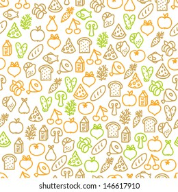 Seamless pattern with food elements