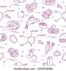 Seamless pattern with foods rich in vitamin B6. Strawberry, orange, chicken, milk, dairy products, yogurt, cherries, fish, tomato, garlic, walnuts, carrots, spinach, cabbage, pepper.