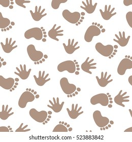 Seamless pattern with footprint and handprints. Background for gift wrapping. Decoration fabric. Wallpaper design. Stylish beautiful baby seamless pattern. Vector