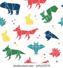 Seamless pattern of forest animals in origami style. Bear, rabbit, squirrel, hedgehog, fox, bird, wolf, owl and rat repetition background.Vector illustration.