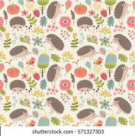 Seamless pattern forest with hedgehogs.