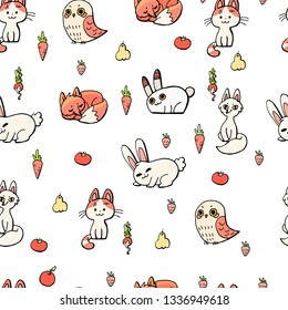 Seamless pattern with forest and home animals on a white background. Fox, cat, hare. rabbit bird Vegetables fruits. Carrot, radish, strawberry, pear, apple, tomato. Doodle