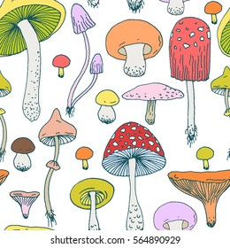 Seamless pattern with Forest mushrooms - vector outline hand drawn sketch. Collection of different mushrooms with roots, real edible and poisonous boletus