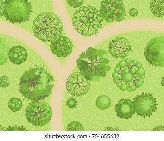 Seamless pattern. Forest top view. Various trees and plants. View from above.