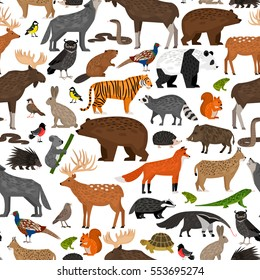 Seamless pattern with Forest wild animals